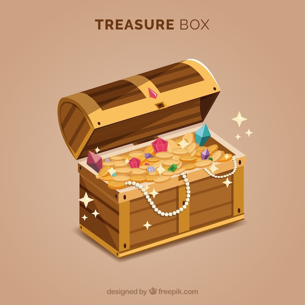 Treasure box with gold and diamonds Free Vector