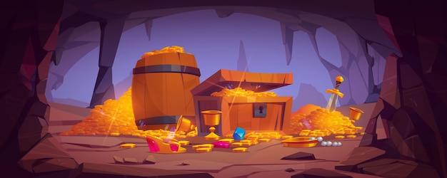 Пещера сокровищ с золотыми монетами в сундуке и деревянной бочке, хрустальные драгоценные камни, корона, меч в куче золота и кубок с драгоценными камнями, древняя фантастическая волшебная гробница или шахта, иллюстрации шаржа Бесплатные векторы