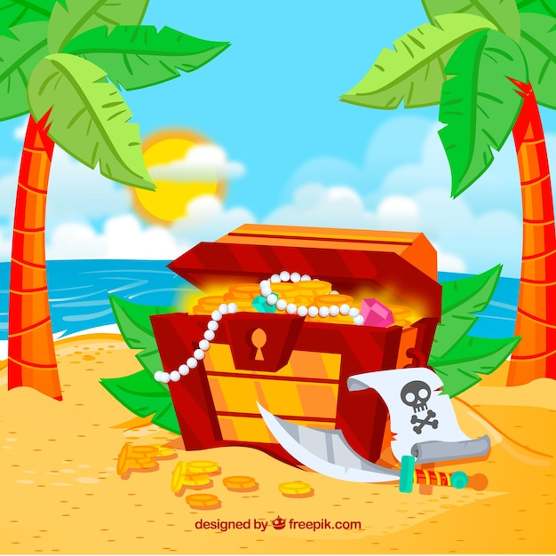 Treasure chest background on an island Free Vector