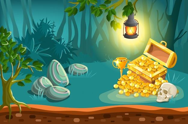Treasure chest and fantasy landscape illustration Free Vector