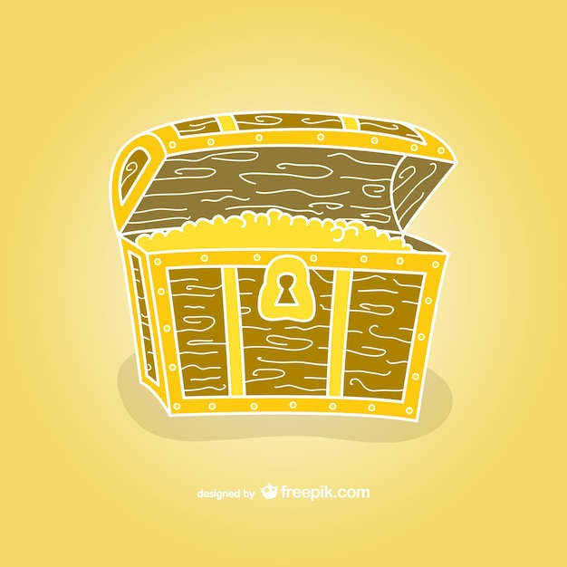 Treasure chest hand drawn vector Free Vector