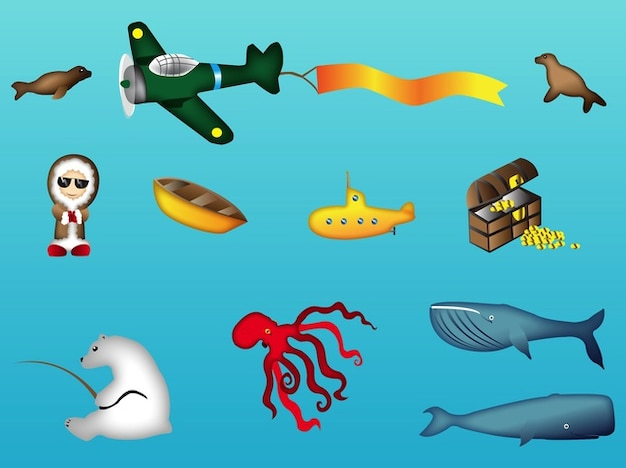Treasure chest ocean animals vector