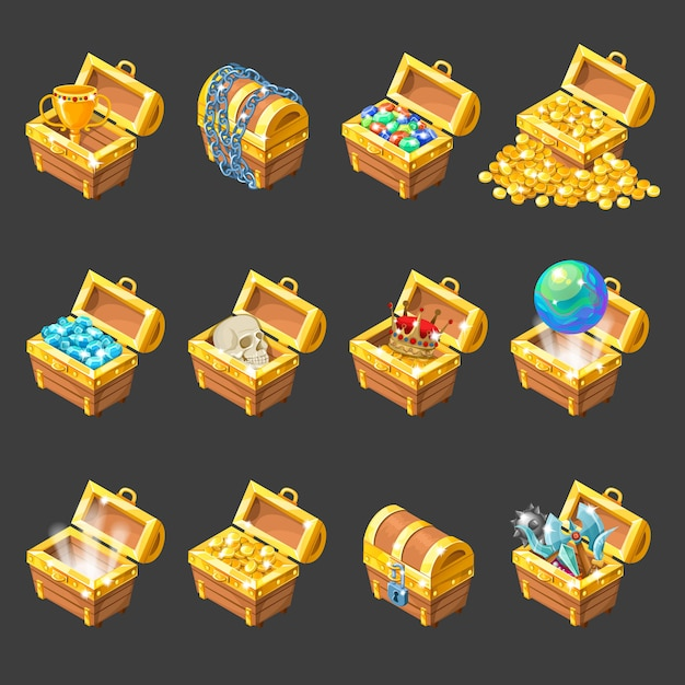 Изометрические мультфильм сундуки с сокровищами набор иконок Бесплатные векторы