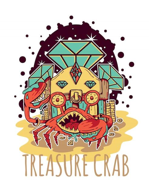 Treasure crab diamond vector illustration Premium Vector