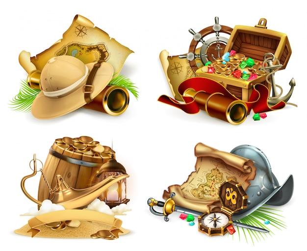 Treasure hunt and adventure, game logo. 3d set Premium Vector
