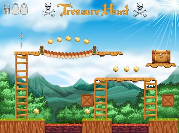 A treasure hunting game pirate theme Vector | Free Download