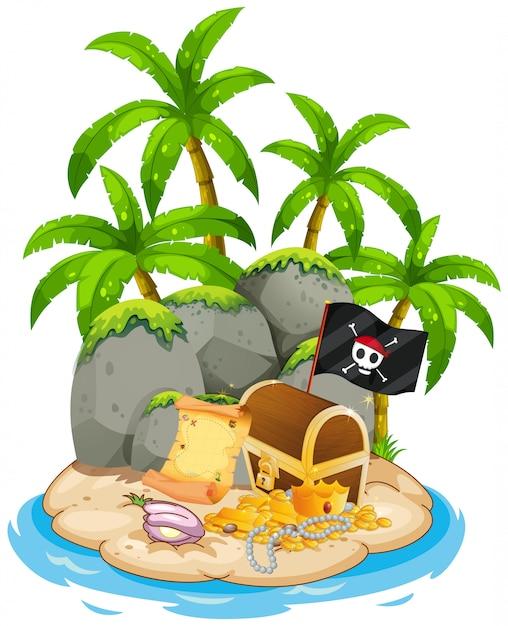 Treasure on island beach scene Free Vector