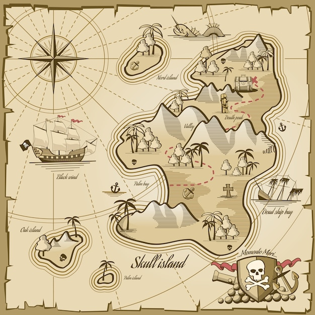 Treasure island vector map in hand drawn style. sea adventure, ocean navigation, plan and path parchment, monster and chest illustration Free Vector