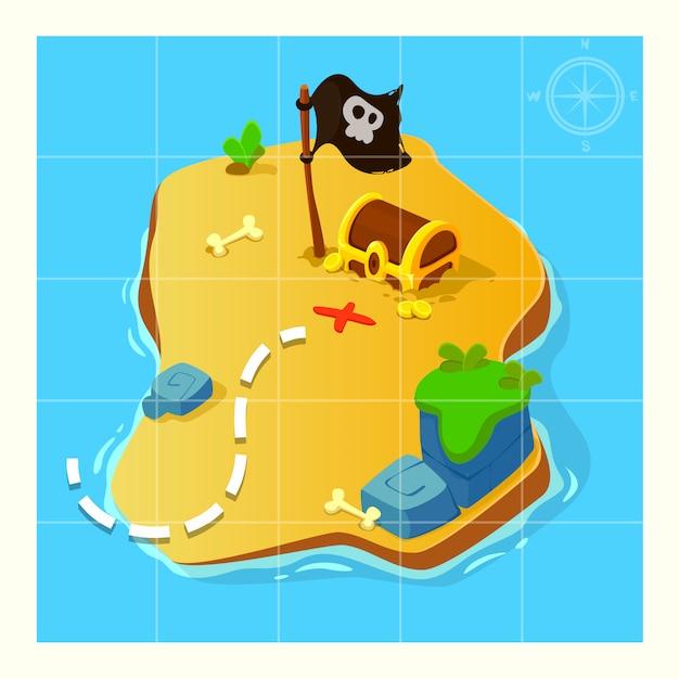Treasure map for game. Premium Vector