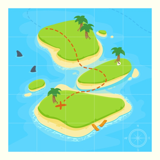 Treasure map for game. Premium Vector
