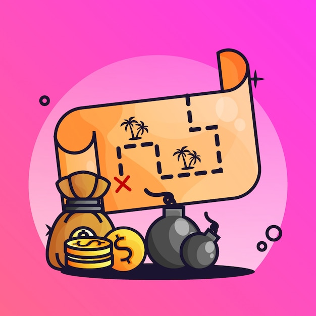 Treasure map with bomb gradient illustration Premium Vector