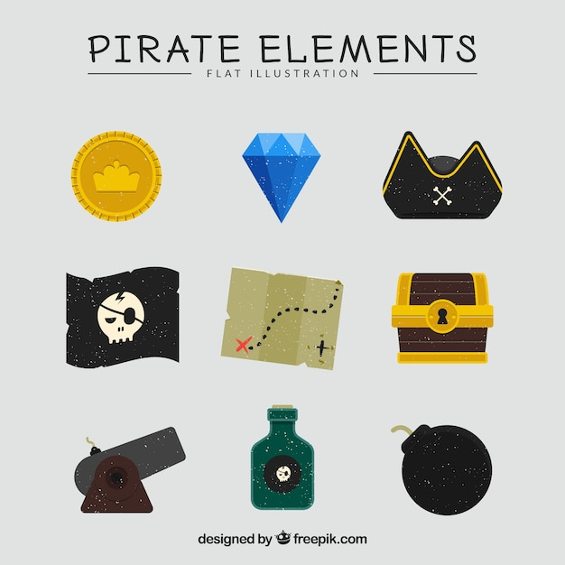 Treasure map with pirate elements in flat design Free Vector
