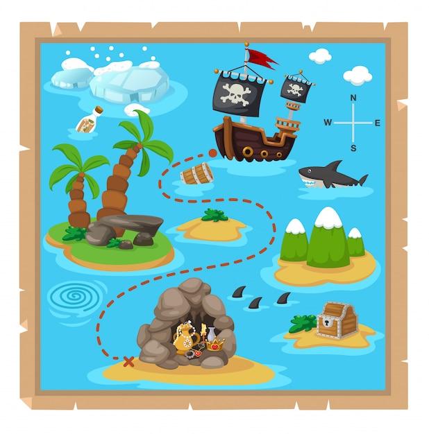 Treasure map Premium Vector