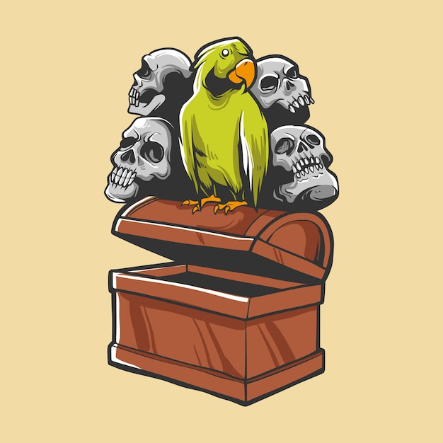 Treasure with bird and skull Premium Vector