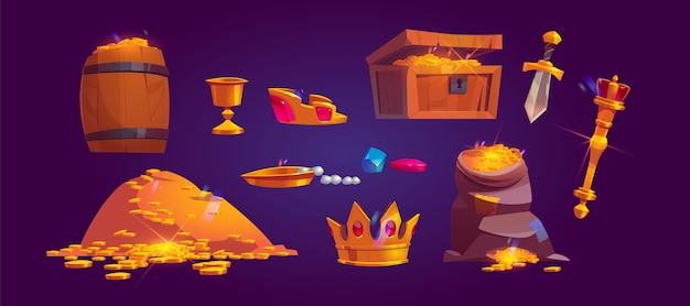 黄金のコイン、宝石、宝石の山の財務アイコン。金、ゴブレット、王冠、セプター、短剣でいっぱいの宝箱、バッグ、木製の樽の漫画セット 無料ベクター