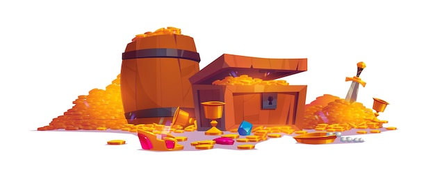 Treasury with pile of golden coins, jewelry and gem Free Vector