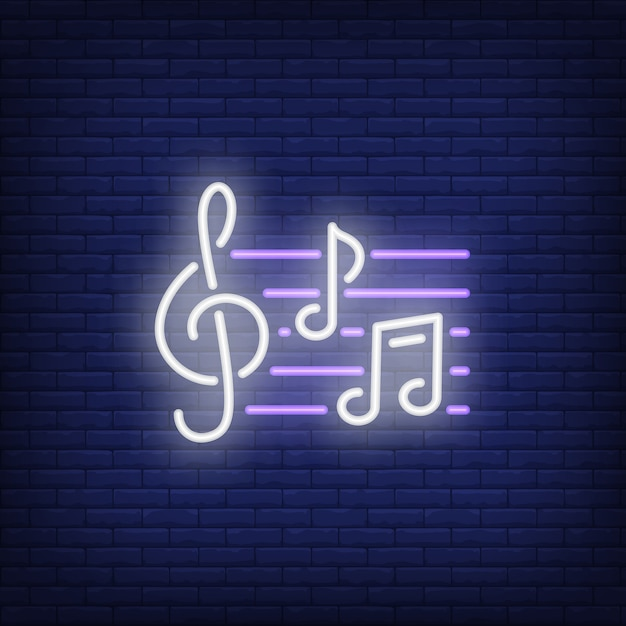 Treble clef and notes neon sign Free Vector