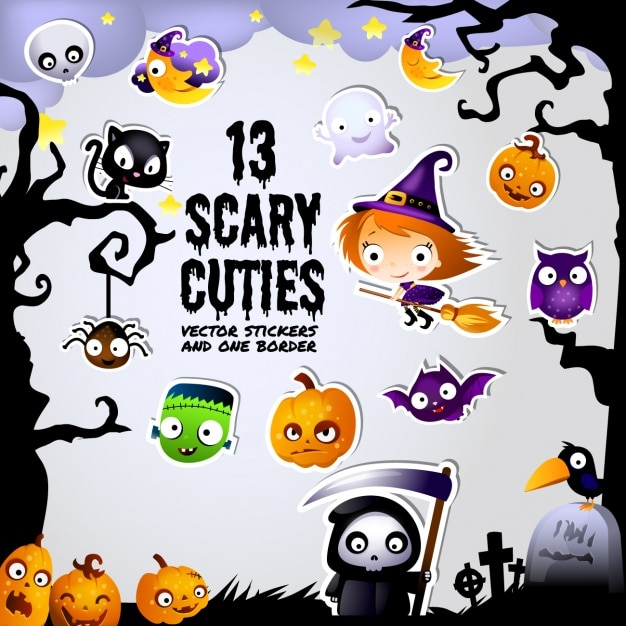 Trece scary elements Free Vector