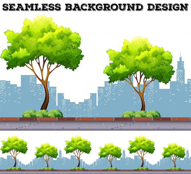 Tree along the sidewalk with city buildings background Free Vector