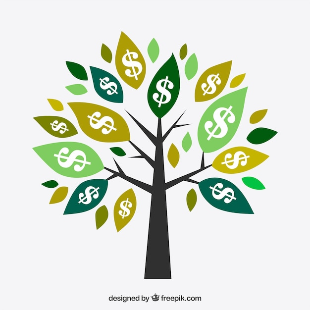 Tree background with dollar symbols on\ leaves