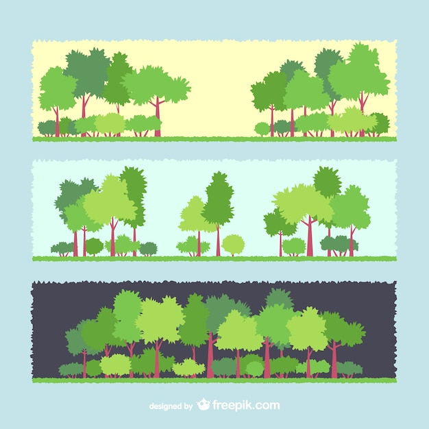 Tree banners Free Vector