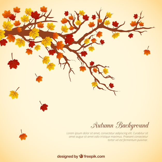 Tree branch with leaves background Free Vector
