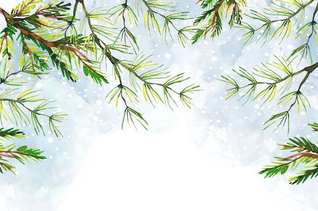 Tree branches christmas watercolor background Free Vector