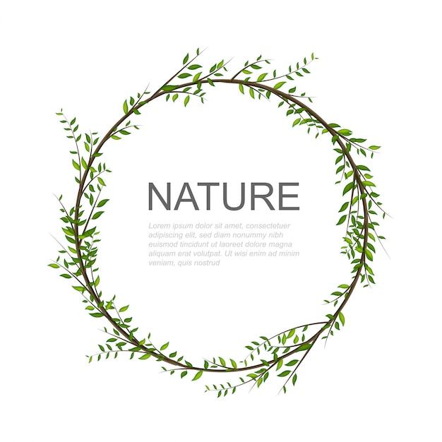 木の枝は真ん中のテキストのための場所で円を描きます。 Premiumベクター