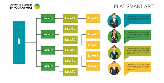 Tree chart slide template Free Vector