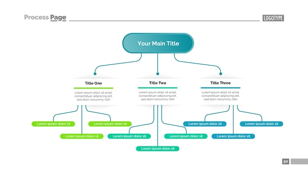 Tree chart with three elements template Free Vector