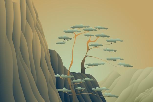 나무 절벽 일몰 풍경 배경 프리미엄 벡터