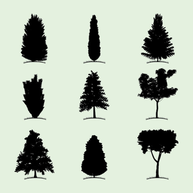 Tree collection flat icon with nine different kind of plants illustration Free Vector