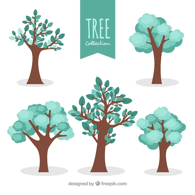 Tree collection in flat style Free Vector