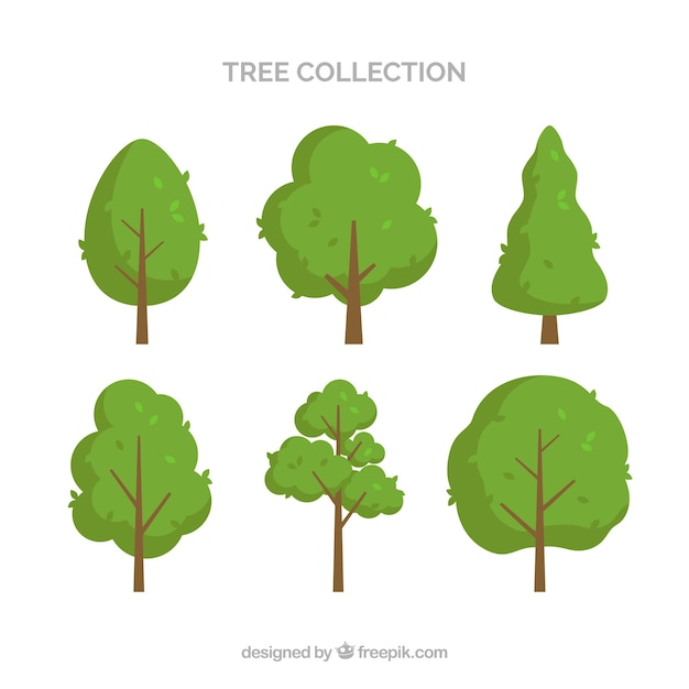 Tree collection of six Free Vector