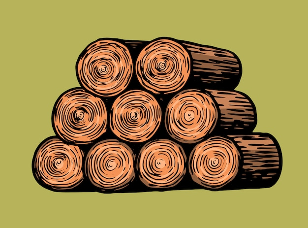 Tree cuts or a pile of firewood. hand drawn vintage retro sketch Premium Vector