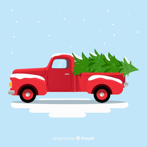tree delivery truck christmas background 23 2148011303