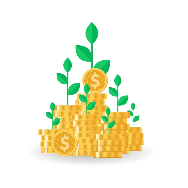Tree Growing On Coins Stack With Mutual Fund Vector Premium Download