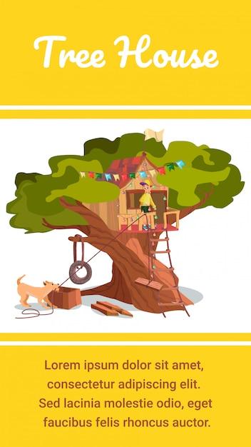 Tree house banner wooden eco forest garden hut Premium Vector