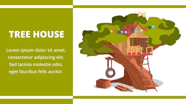 Tree house building on tree banner forest garden Premium Vector
