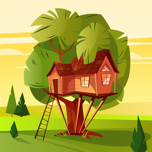 Tree house illustration of wooden hut with ladder and windows in forest. Free Vector