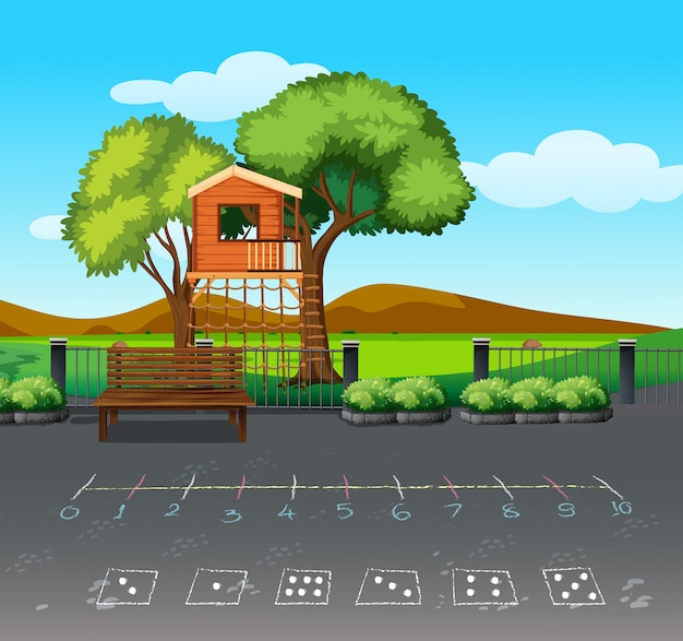 Tree house in nature landscape Free Vector