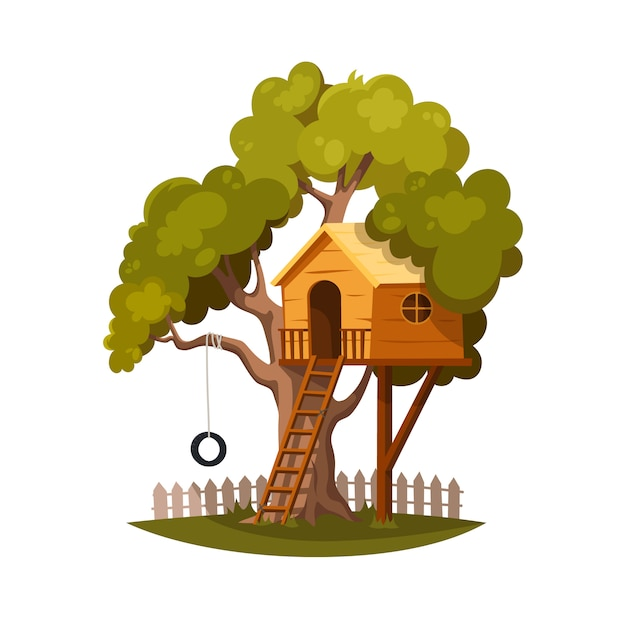 Tree house for playing and joyful children. Premium Vector