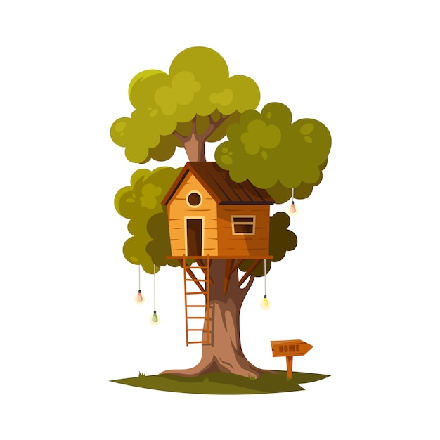 Tree house for playing and parties. Premium Vector