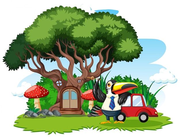 白い背景の上のかわいい鳥の漫画のスタイルを持つ木の家 Premiumベクター