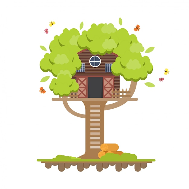 Tree house. wooden house on tree for kids. children playground in flat design. Premium Vector