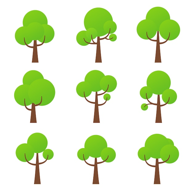 Tree icon,  nature symbol  green forest plants collection Premium Vector