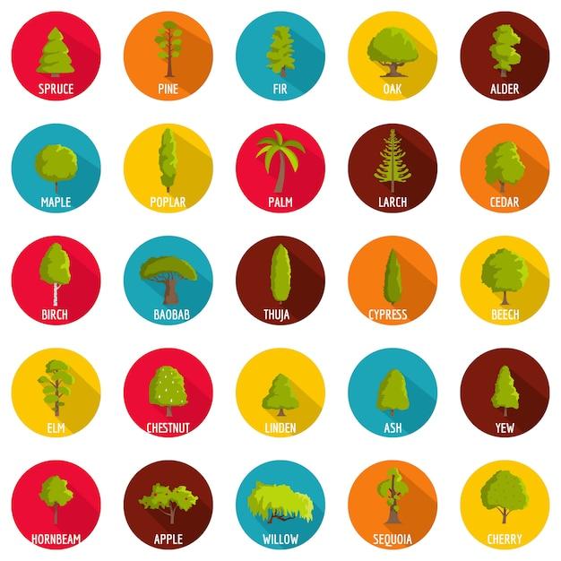 Tree icons set, flat style Premium Vector