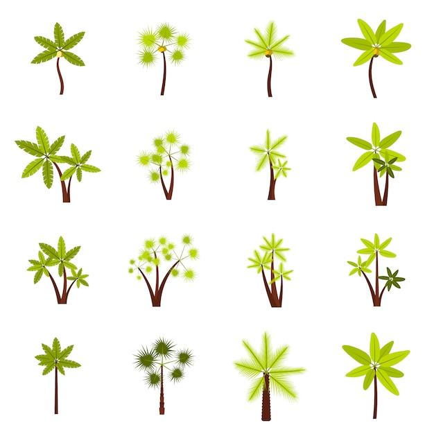 Tree icons set Premium Vector