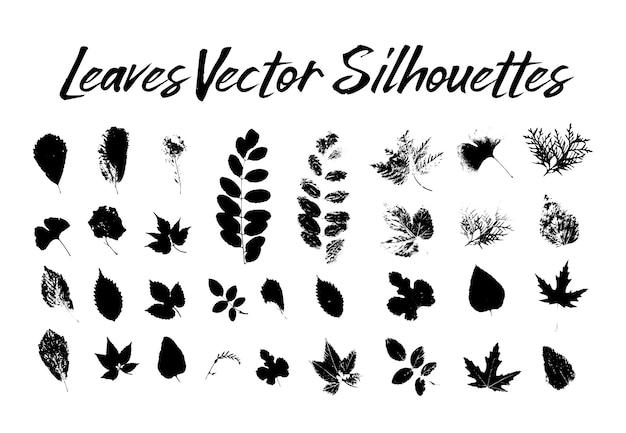 木の葉のシルエット。植物と自然 無料ベクター