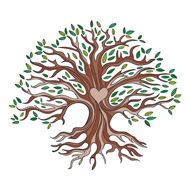 Tree life hand-drawn concept Free Vector